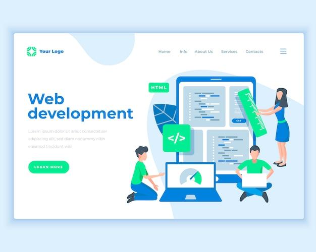 Landing-page-schablonen-webentwicklungskonzept mit büroleuten. Premium Vektoren