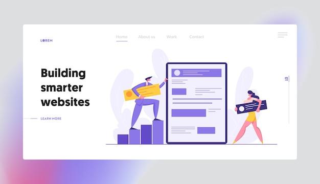 Landing page set für das web-software-entwicklungskonzept Premium Vektoren
