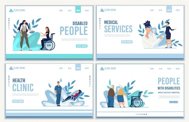 Landing page set von medizinischen dienstleistungen für menschen Premium Vektoren