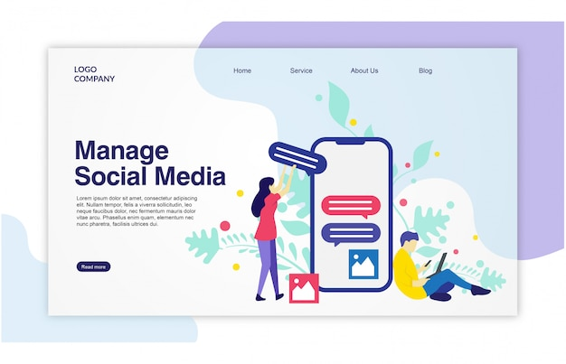 Landing-page-social-media-template-design Premium Vektoren