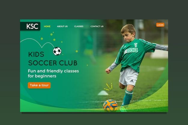 Landing page sport vorlage mit foto Kostenlosen Vektoren