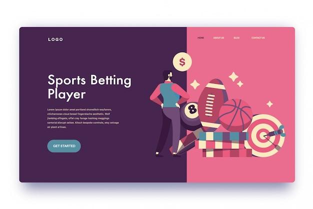 Landing page sportwetten-spieler Premium Vektoren