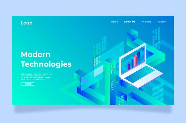 Landing page template technologiekonzept Kostenlosen Vektoren