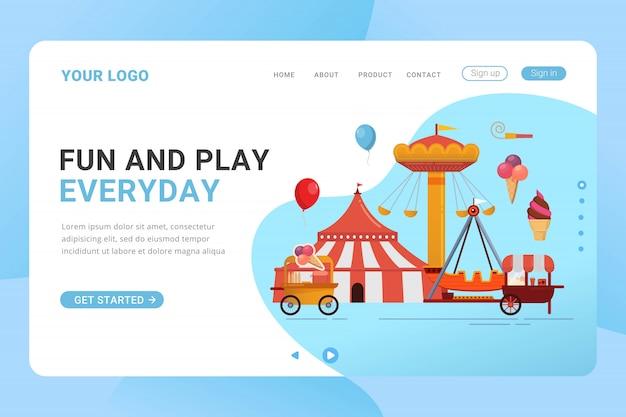 Landing page template vergnügungspark design-konzept Premium Vektoren