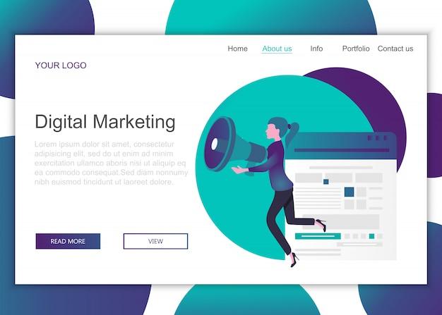 Landing-page-vorlage für digitales marketing Premium Vektoren