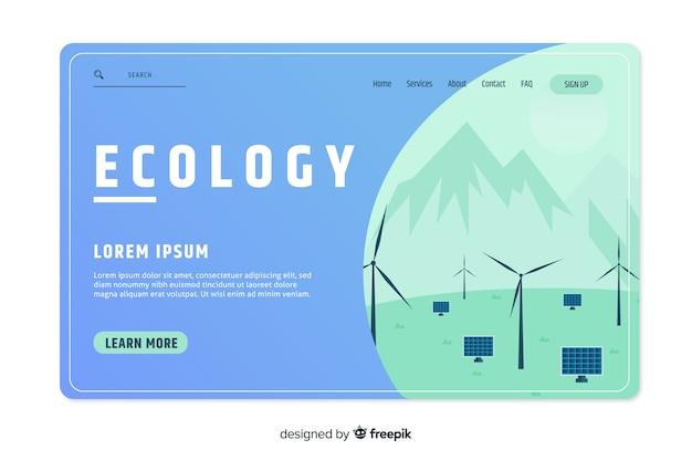 Landing page vorlage für ökologie-konzept Kostenlosen Vektoren