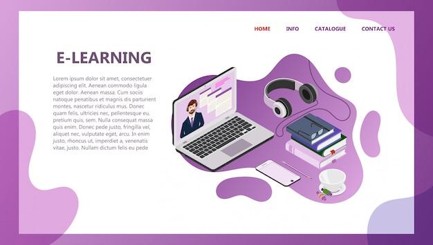 Landing-page-vorlage für online-bildung Premium Vektoren