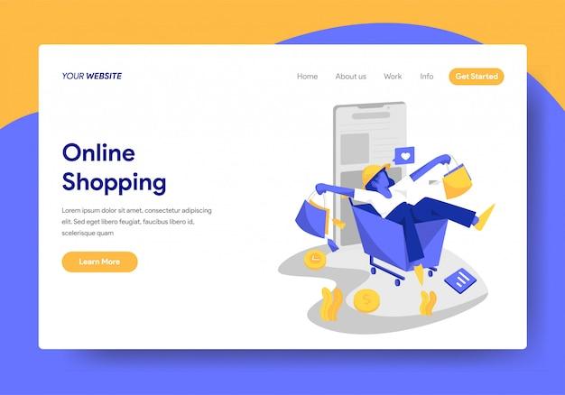 Landing-page-vorlage für online-shopping-konzept Premium Vektoren