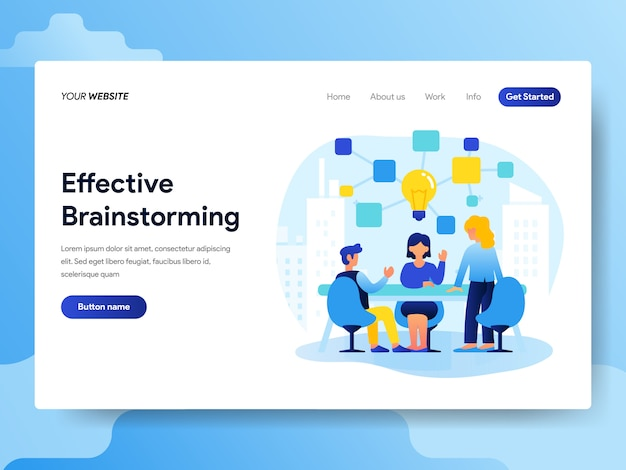Landing-page-vorlage für teamwork und brainstorming Premium Vektoren