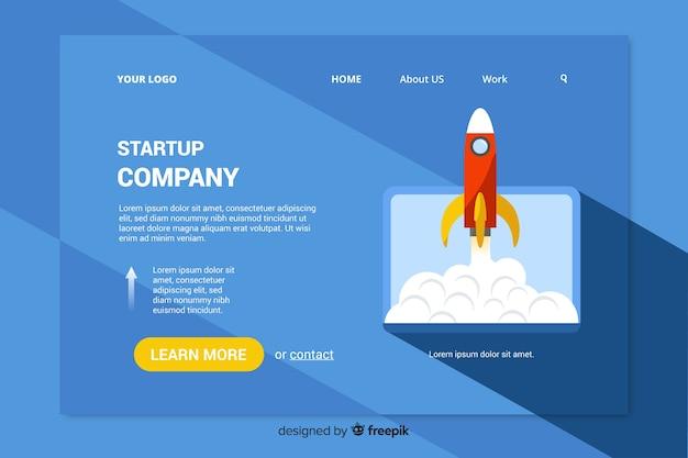 Landing-page-vorlage mit einer rakete Kostenlosen Vektoren