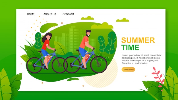 Landing page vorlage mit sommerzeit schriftzug und radfahrer Premium Vektoren
