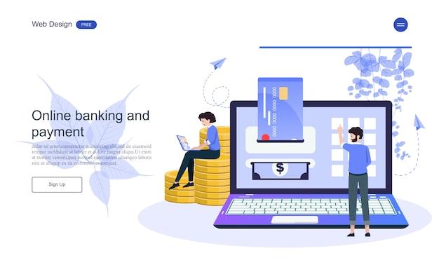 Landing page web template business-konzept für online-banking, finanztransaktion. Premium Vektoren