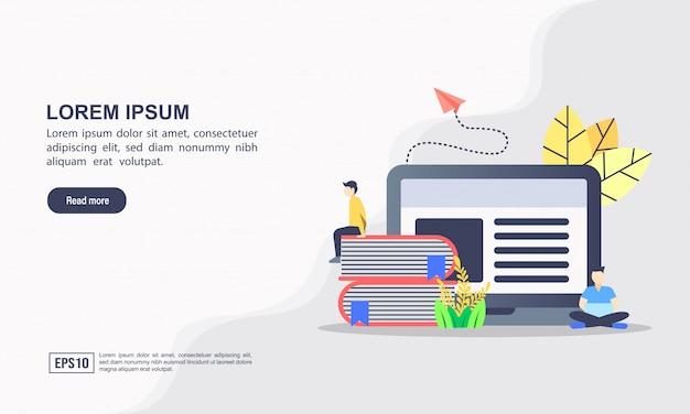 Landing page web template für e-learning & online-bildungskonzept Premium Vektoren