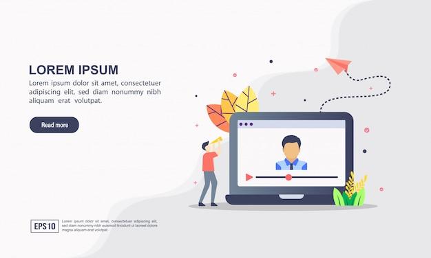 Landing page web template-konzept des video-marketings Premium Vektoren