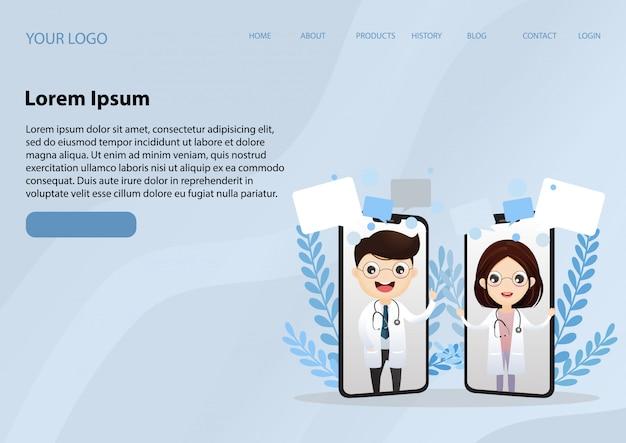 Landing page web template mit lächelnden arzt auf dem handy-bildschirm. medizinische internetberatung. web-service für gesundheitsberatung. krankenhausbetreuung online Premium Vektoren