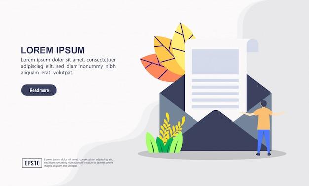 Landing page web template von mediennachrichten und zeitungskonzept Premium Vektoren