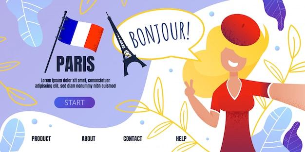 Landing page willkommen in paris mit happy woman Premium Vektoren