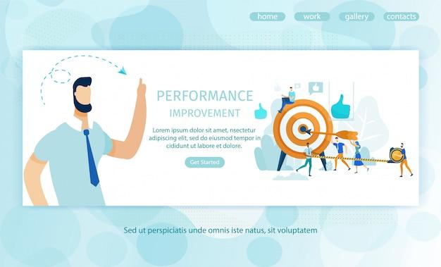 Landing page zur leistungsverbesserung von postern Premium Vektoren