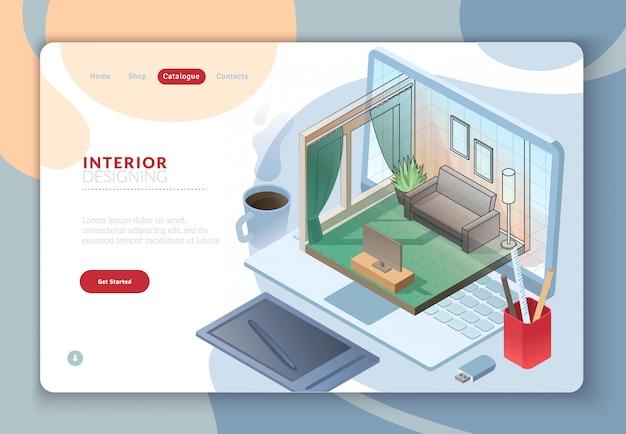 Landing web template-seite mit isometrischer wohnraumzeichnung aus dem laptop-monitor mit mischschatten und büromaterial auf dem arbeitsplatz. Premium Vektoren