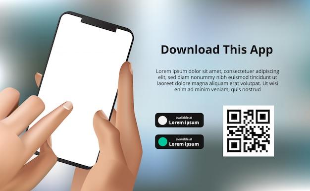 Landingpage-bannerwerbung zum herunterladen der app für mobiltelefon, handhalten des smartphones mit bokeh-hintergrund. laden sie die schaltflächen mit der scan-qr-code-vorlage herunter Premium Vektoren