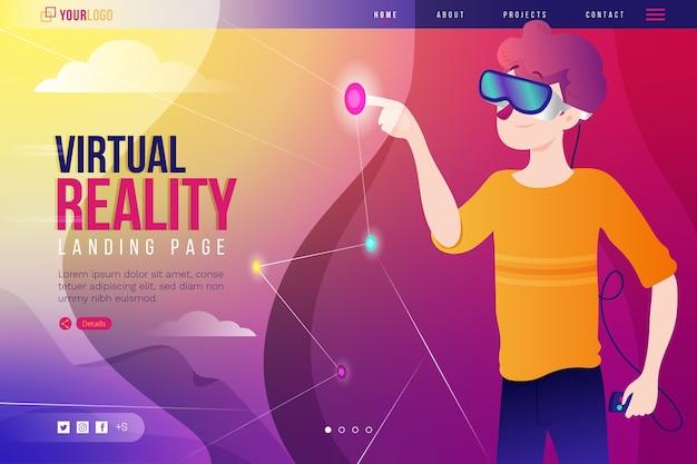 Landingpage der virtual-reality-headset-brille Kostenlosen Vektoren