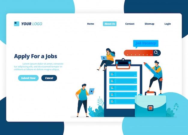 Landingpage-design von bewerben für jobs. auswahl von einstellungen und stellenanzeigen. Premium Vektoren