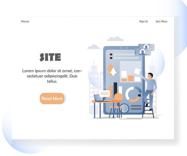 Landingpage-fahnenschablone der webentwicklervektorwebsite Premium Vektoren