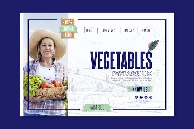 Landingpage für bio und gesundes gemüse Kostenlosen Vektoren
