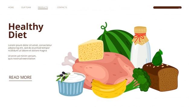 Landingpage für diätologie. webvorlage für gesunde ernährung Premium Vektoren