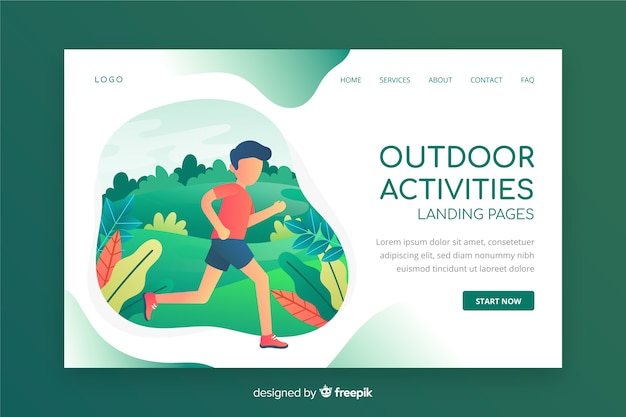 Landingpage für outdoor-aktivitäten Kostenlosen Vektoren