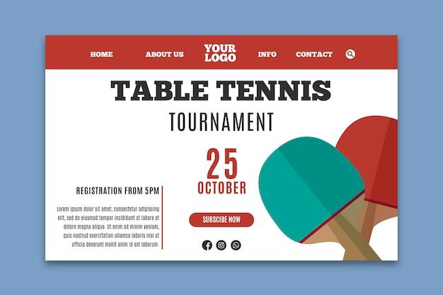 Landingpage für tischtennisvorlagen Kostenlosen Vektoren