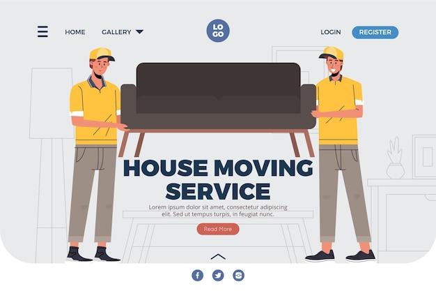 Landingpage für umzugsdienste mit couch Kostenlosen Vektoren