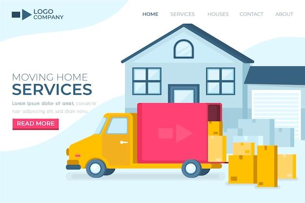 Landingpage für umzugsdienste mit lkw Premium Vektoren