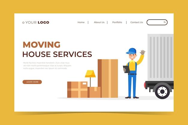 Landingpage für umzugsdienste Kostenlosen Vektoren