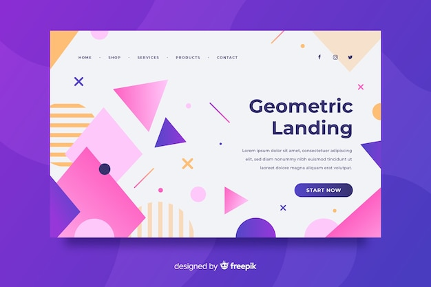 Landingpage-konzept mit geometrischen formen Kostenlosen Vektoren
