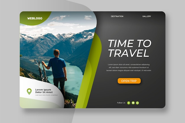Landingpage mit reisefoto Kostenlosen Vektoren