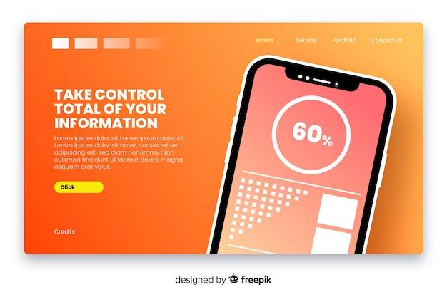 Landingpage mit smartphone in flacher bauform Kostenlosen Vektoren