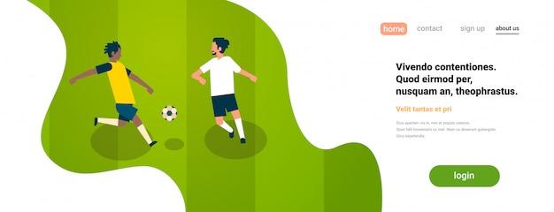 Landingpage oder website-vorlage mit fußballillustration, sportthema Premium Vektoren