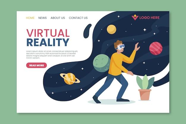 Landingpage-space-konzept für virtuelle realität Kostenlosen Vektoren