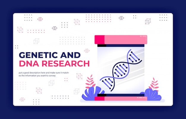 Landingpage-vektor-illustration der genetischen und dna-forschung für medizinisches lernen und arzneimittelentwicklung. Premium Vektoren
