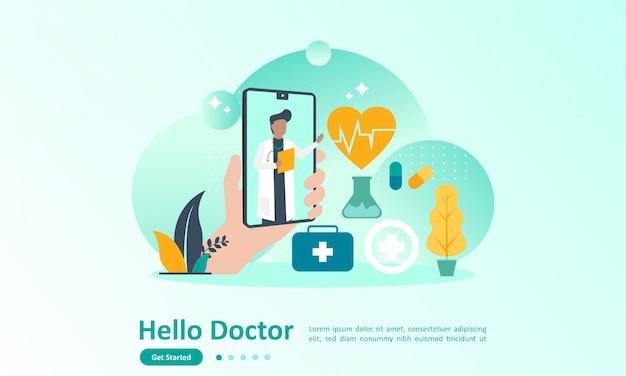 Landingpage-vorlage des online-doktors Premium Vektoren