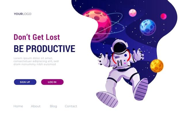 Landingpage-vorlage des universums Kostenlosen Vektoren
