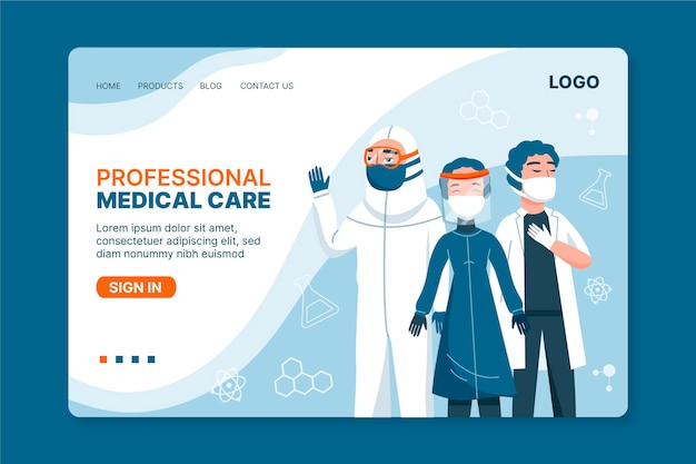 Landingpage-vorlage für das gesundheitswesen Kostenlosen Vektoren