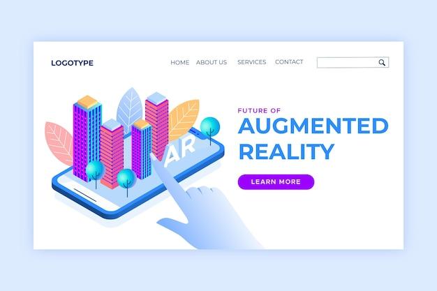 Landingpage-vorlage für das isometrische augmented-reality-konzept Kostenlosen Vektoren