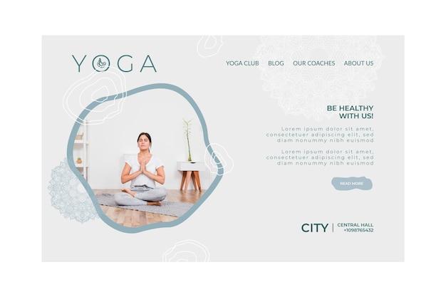Landingpage-vorlage für das üben von yoga Kostenlosen Vektoren