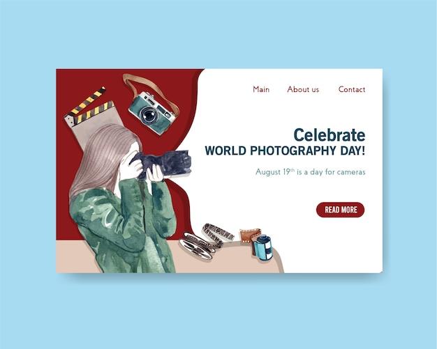 Landingpage-vorlage für den weltfotografietag Kostenlosen Vektoren