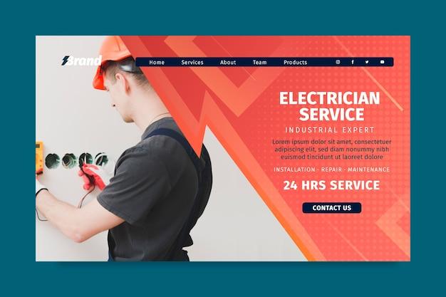 Landingpage-vorlage für elektriker-servicemann Kostenlosen Vektoren