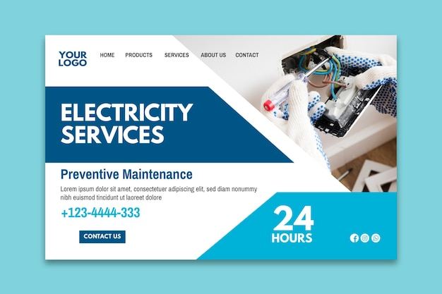 Landingpage-vorlage für elektrikeranzeige Kostenlosen Vektoren