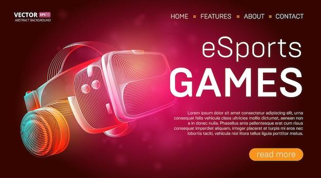 Landingpage-vorlage für esports-spiele mit einem virtual-reality-headset mit brille und kopfhörern oder vr-helm Premium Vektoren