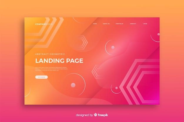 Landingpage-vorlage für geometrische formen Kostenlosen Vektoren